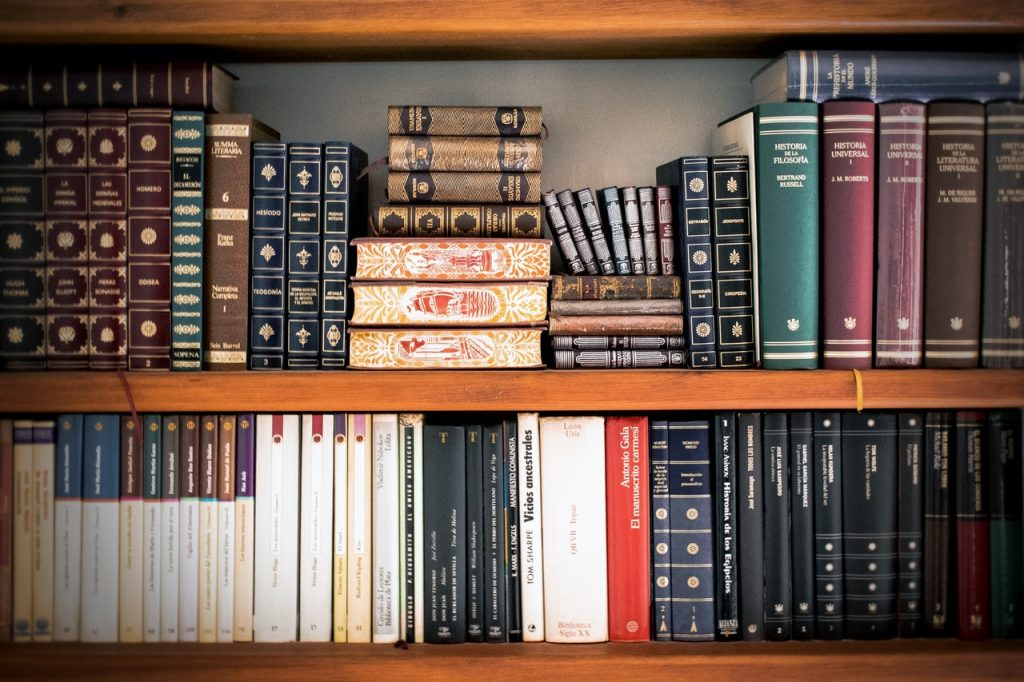Stacked books in a book-friendly environment