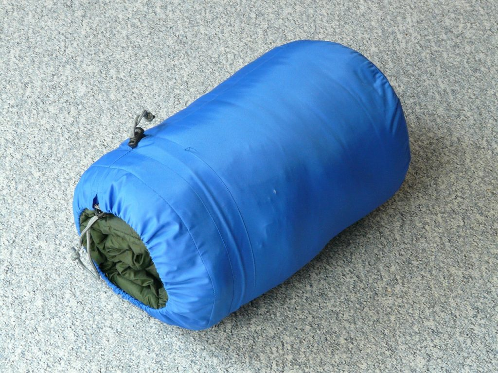 Sleeping bag packed separately form the tent